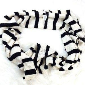 J Crew Black White Striped Knit Infinity Scarf